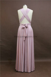 Cheap Elastic Satin Girl Evening Gowns Convertible Pink Bridesmaid Dresses pictures & photos