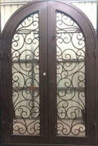 Round Top Wrought Iron Double Door for House pictures & photos