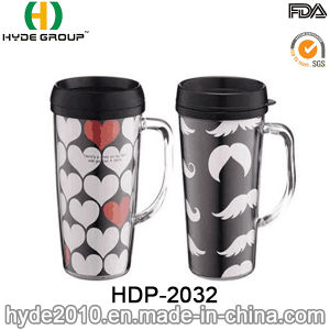 16oz BPA Free Double Wall Coffee Mug with Handle (HDP-2032) pictures & photos