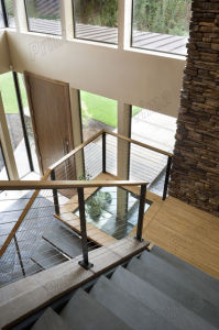 Staircase Steel Cable Railing with Solid Wood Handrail pictures & photos