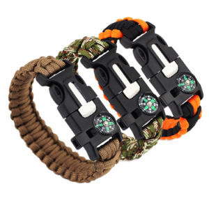 Fashion Survival Bracelet Flint Fire Starter Gear Escape Paracord Whistle Cord Buckle Camping Bracelets Rescue Rope Travel Kits pictures & photos