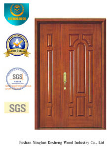 Chinese Style MDF Double Door with Solid Wood for Entrance (xcl-025) pictures & photos
