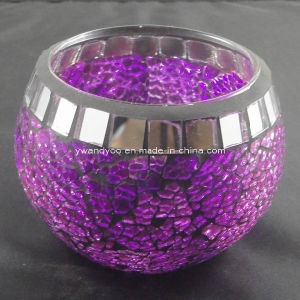 Purple Mosaic Glass Candle Holder