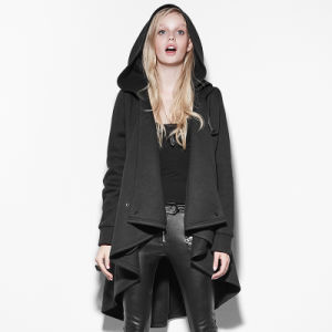Py-163 Punk Black Personality Irregular Cloak Style Long Jacket with Hooded pictures & photos