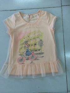 Lovely Baby T-Shirt Dress in Children Clothes with Net Fabric (SGT-002) pictures & photos