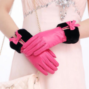 Lady Fashion Faux Fur Cuff Sheepskin Leather Dress Gloves (YKY5209-1) pictures & photos