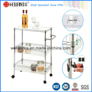 DIY 3 Tiers Metal Mini Kitchen Shelf Trolley with Basket pictures & photos