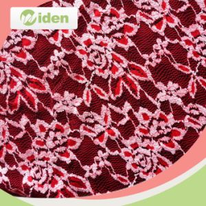 Bright Red Net Lace Cotton and Nylon Embroidery Lace Fabric pictures & photos