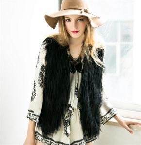 2016 New Faux Fur Vest Solid Color Fur One Big Lapel Women Fur Vest pictures & photos