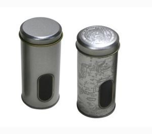 Tin Jar Tin Can with Transparent PVC Window pictures & photos