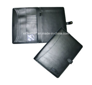 Office Leather Bound File Organizer Folder with Notepad pictures & photos
