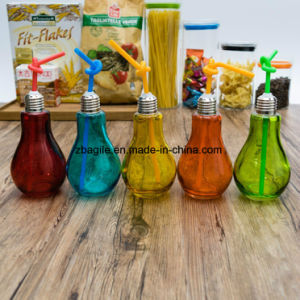 Factory Wholesale 5 Color Glass Bulb Juice Bottle with Straw 100009 pictures & photos