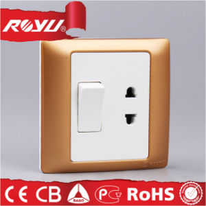 10A Champagne Color PC Material Switch and Socket pictures & photos