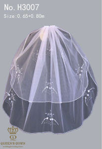 Hand-Beaded Lace Bridal Veil Short Paragraph, Factory Direct