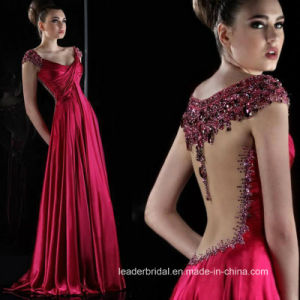 Crystal Stones Evening Dress Cap Sleeves Red Green Beads Party Prom Gown T20176 pictures & photos