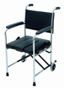 Chrome Frame PVC Seat and Back with Commode Steel Wheelchair