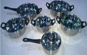 Mirror Polishing 12PCS Stainless Steel Cookware Set with Capsuled Bottom pictures & photos
