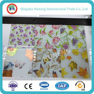 Acid Glass with Design/Rose/Butterfly/Grape Printed on Surface pictures & photos