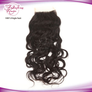 Factory Price Indian Natural Wave Human Hair Lace Base Closure Pieces pictures & photos