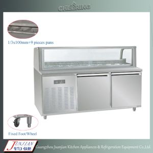 Cheering 304 Stainless Steel and Glass Commercial Restaurant Sandwich Refrigerator/ Round Arc Sandwich Prep Table/Refrigerated Sandwich Bench pictures & photos