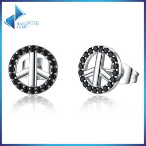 New Arrival 100% 925 Sterling Silver No War Symbol Stud Earrings pictures & photos