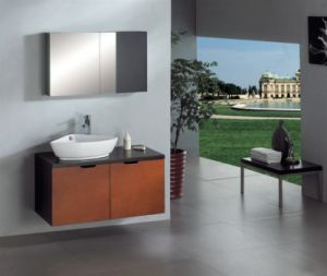 Dark Bronw Wall Hung Single Sink Bathroom Vanity pictures & photos