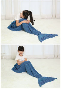 Knitted Sea-Maid Sleeping Bag Mermaid Tail Blanket Fish Tail Shape Blanket pictures & photos