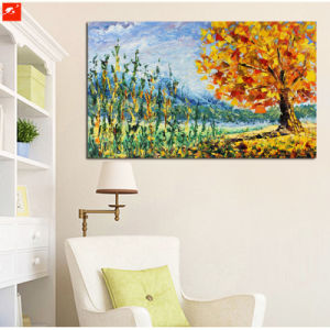 Decoration Golden Maple Tree Canvas Painiting with Frame pictures & photos