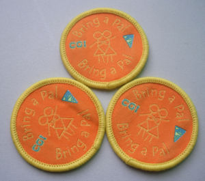 High Damask Round Shape Woven Badge pictures & photos