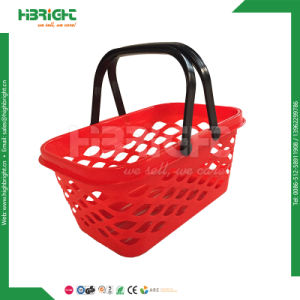 Double Handles Supermarket Plastic Shopping Basket pictures & photos
