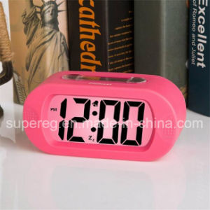 Silicone Protective Cover Digital Silent LCD Large Screen Desk Alarm Clock pictures & photos