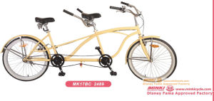 26′′ White Wall Tires Tandem Beach Cruiser Bicycle of Single Speed pictures & photos