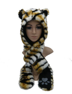 New Style Long Thick Warm Plush Hat with Hand Print pictures & photos