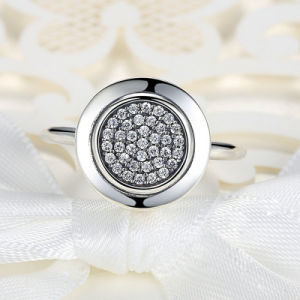 Round Cubic Zirconia Pave Setting Silver Plated Coop Ring pictures & photos