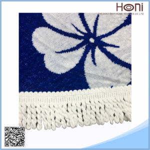 Round Jacquard Beach Towel with Tassel Fring Factory Softtextilemandala Round Beach Towel pictures & photos