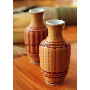 Hand Woven Fine Bamboo Wood Flower Vase with Pottery Inside pictures & photos