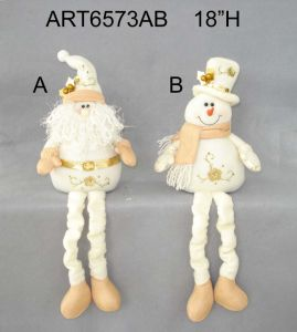 Spring Legged Santa Snowman Holiday Decoration with Hand Embroidery-2asst. pictures & photos