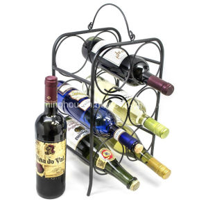 6 Bottle Tabletops Freestanding Metal Storage Display Wine Holder Rack pictures & photos