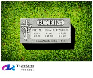 G603 Gray Granite Carving Flat Markers Gravestone on The Grass