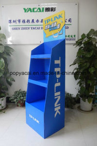Retail Corrugated Cardboard Floor Pallet Display with Metal Bar for Tplink pictures & photos