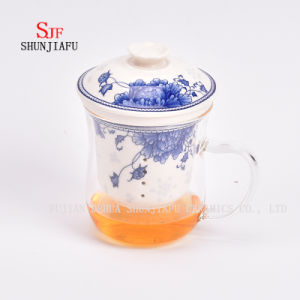 Office and Home Flower Tea Cup, Ceramic Filter and Borosilicate Glass Cup Combine, Glass Tea Cups with Lid pictures & photos