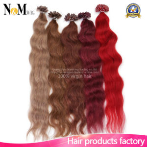 Fusion U Tip Human Hair Extension Flip Colorful Hair 100% Brazilian Virgin Hair Kinky Straight Keratin Capsule U Tip Hair Extension pictures & photos