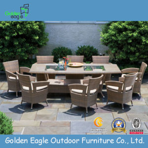Big Size PE Rattan Wicker Dining Table Set pictures & photos