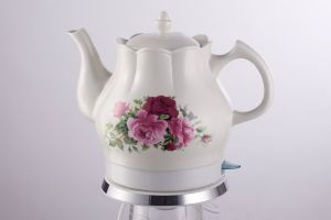 Chinese Style Electric Ceramic Kettle with Beautiful Flower Printing pictures & photos