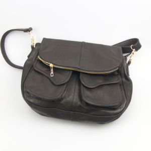 Women PU Shoulder Bag Black Ladies PU Handbag pictures & photos