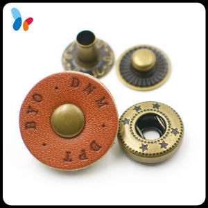 Custom Engraved Logo Leather Cap Snap Press Fasteners Button for Fashion Clothes pictures & photos