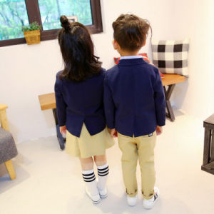 Custom Design Kids Children School Uniform with Three-Piece (Jacket+Pants/Skirt+Shirt) pictures & photos
