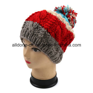 Beautiful Girls Striped Colorful Hand-Knit with Velvet Wool Hat pictures & photos