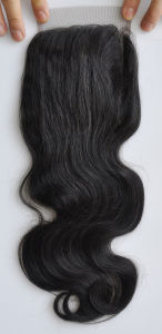 Middle/Free/3-Part Bleached Knots Brazilian Virgin Hair Lace Top Closure Swiss Lace Unprocessed Body Wave Hair Lbh 269 pictures & photos