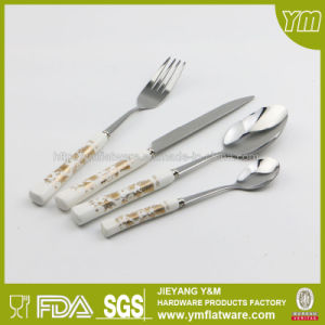 Wholesale 6PCS Stainless Steel Ceramic Handle Spoon and Fork Knife Set pictures & photos